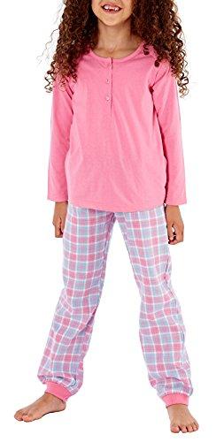 i-Smalls Mädchen und Jungen Modische Ebene Jersey Top & Gewebte Flanell Böden Lange Pyjama-Set (11-12) Pink (Pyjama-böden Jungen)