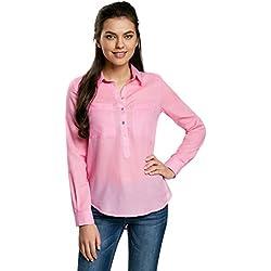 oodji Ultra Mujer Camisa Ancha de Algodón, Rosa, ES 44/XL