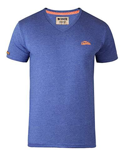 Royal Purple T-shirt (M.Conte Herren Fitness T-Shirt Sportstyle Kurzarm Stickerei Logo V-Kragen Grün Blau Purple Marine M L XL XXL Carl (XXL, Royal Blau))