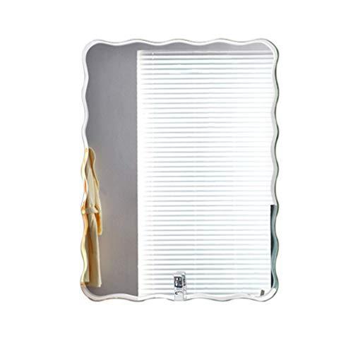 Bad Wandspiegel, rahmenloser Creative Square Wave Edge Schminkspiegel - einfacher dekorativer Glaswandspiegel (Größe: 60x80cm) - Wave Bad Licht