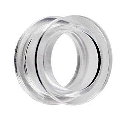 eeddoo® Acryl - Tunnel - Klar - 10 mm (Piercing Flesh Tunnel Ohr Plug für gedehnte Ohren Lobes Tubes) (Stück Christina Ein Womens)