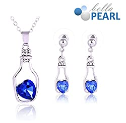 Bella Pearl Designer Bottle Heart Crystal Pendent and Earrings Necklace with Best Offer For Girls and Womens.
