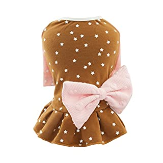 Puppy Dog Cotton Dresses Prime Star Pattern Pink Brown Color with Rosette for Medium Dogs Puppy (X-Small, Brown)