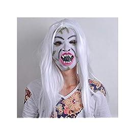 Yyanliii Divertente Bad Face Maschera Zombie con maschera orribile Tricky capelli bianchi per la festa di Halloween