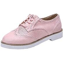 riou Zapatillas de Deportivos de Running para Mujer Gimnasia Ligero Sneakers Casual Zapatos Gamuza Negro Rosa