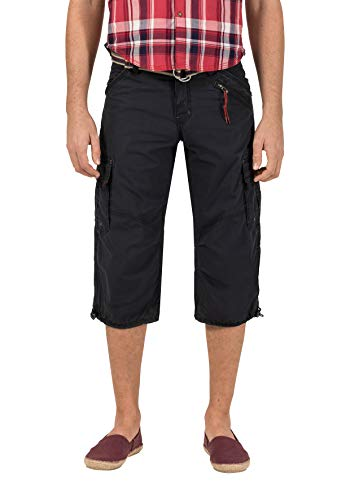 Timezone Herren Shorts Loose Miles 3/4 Cargo incl. Belt, Blau (washed dark navy 3570), W33 -