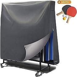 Housse de table de ping-pong extérieure - revêtement PVC / coutures collées / ouvertures de ventilation - Bâche imperméable pour tennis de table, résistante aux UV et aux intempéries - 185x165x70 cm