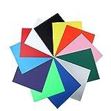 Textilfolien Transferpapier, TPU Heat Transfer Vinyl Transferfolie Vinylfolien 12 Farben, 12x10 Zoll farbige Textilien, DIY T-Shirt, Cricut, Silhouette, Cameo Hobby SS SHOVAN