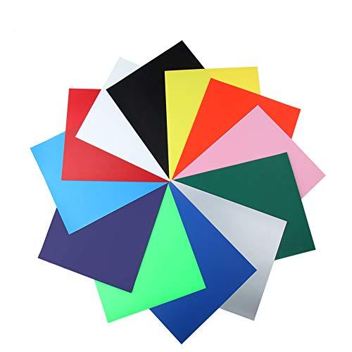 Feuilles de vinyle de transfert de chaleur, fer sur HTV vinyle papier 12 couleurs 12''x 10'' pour bricolage T-Shirt, loisirs et artisanat, Silhouette camée, Cricut, presse de la chaleur et plus artisa