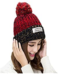 iSWEVEN 1030b Multicoloured Imported Fancy Beautifully wooven Expandable Very Soft Beanie Cap hat for Women Girls Adults Female