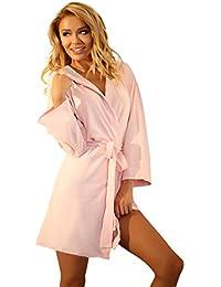 Damen Leicht 100% Baumwolle Morgenmantel Kurze Lange Einfache Schlafrock Mit Kapuze