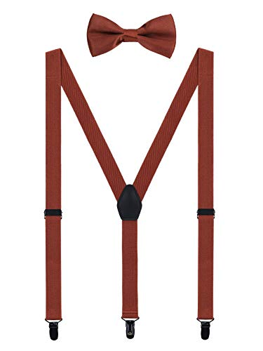 WANYING Herren Hosenträger Fliege Set - 3 Schwarz Clips Y Form 2,5cm Hochelastisch Hosenträger für Herren 150-200cm - Retro Braun -