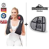 Donnerberg® Schulter Massagegerät für Nacken Schulter Rücken | Muskel Schmerzen | Das Original Nackenmassagegerät mit Wärme | 3D-Rotation Massage | TÜV | 7 Jahre Garantie | Haus Büro Auto