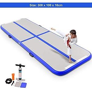 COSTWAY Air Track Aufblasbar Gymnastikmatte Tumbling Matte Air Bodenschutzmatte für Gym Training Yogamatte Trainingsmatten Weichbodenmatte Turnmatte Fitnessmatte Aufblasbar Tragbar 300X100X10CM