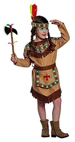 Kostüm Mädchen Braun - Kostüm Indianerin Baca Gr. 104- 152, Mädchen Indianer Kleid braun Kinderfasching (104)