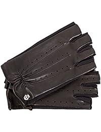 Roeckl Damen Halbfinger Autohandschuhe mit bequemen Spandex Einsätzen Haarschaf-Nappaleder schwarz 1/2 Finger