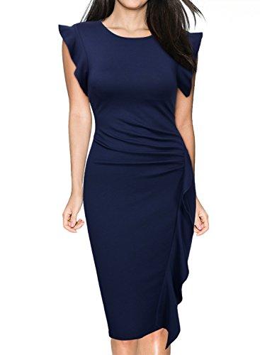 Miusol Damen Rundhals Abendkleid mit Falte Etuikleid Knielanges Kleid Blau Gr.XXL