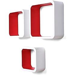Songmics Juego de 3 estantes para libros CDs Estanterías de pared Cubos retro blanco-rojo LWS80R