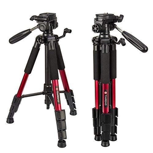 Leichte Stativ - Tairoad Tragbare Kompakt Kamera Stativ mit 360 Grad Schwenkkopf und Schnellwechselplatte für DSLR Canon EOS Nikon Sony Panasonic Samsung - Rot