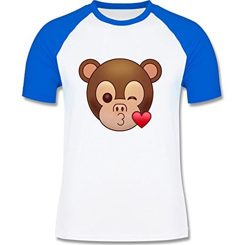 Comic Shirts - Küsschen Äffchen Emoji - zweifarbiges Baseballshirt für Männer Weiß/Royalblau