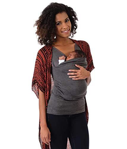 Lonshell Schwangere Mutter Känguru T-Shirt Weste Frauen Stillen Baby Tank Tops 2in1 Tragetuch Baby Carrier Holder Nachthemd Umstandsmode OberteileSommer (Grau, S)