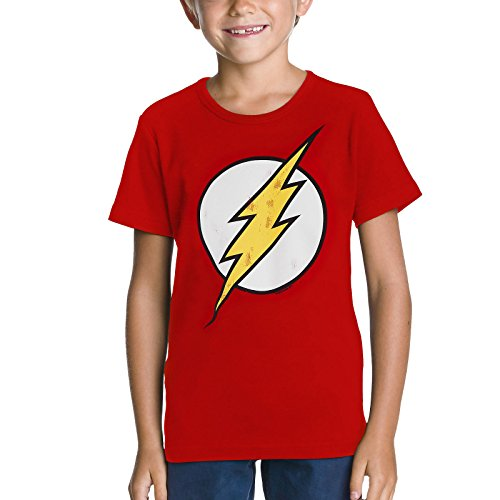Flash Logo Kinder T-Shirt Markenware DC Comics feuerrot robuster Stoff - 122/134 -