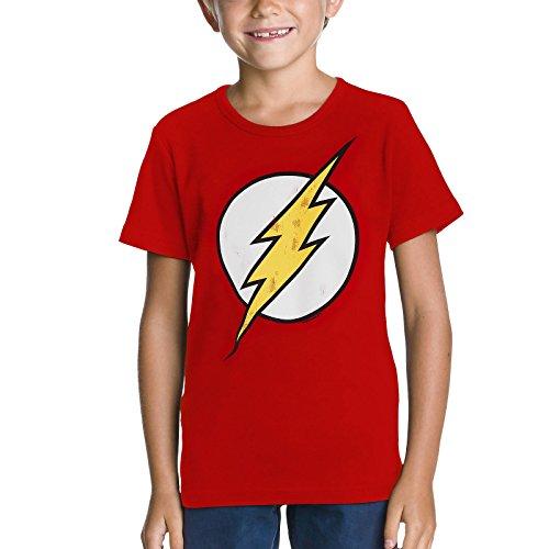 Flash Logo Kinder T-Shirt Markenware DC Comics feuerrot robuster Stoff - 122/134