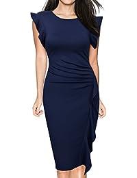 Miusol Damen Elegant Sommer Kleid V-Ausschnitt Kurzarm Vintage Knielang Cocktailkleider