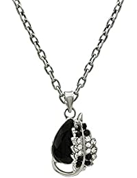 Mahi Rhodium Plated Magical Love Crystal Heart Pendant With Chain For Women PS1101604RBla