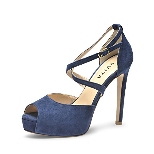 BEPPINA Damen Sandalette Rauleder Blau