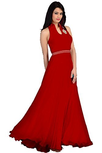 Clickedia Womens Faux Georgette Princess Cut Dress (Red Gown _Red _Free Size)