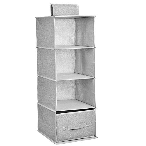 Tebery Organizador de armario colgante de 4 estantes con cajón de tela para colgar estantes, organizador de almacenamiento duradero, estante de almacenamiento plegable para ropa suéteres (gris claro)