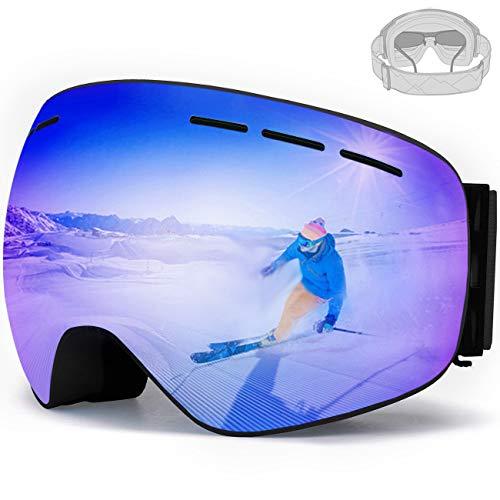 JENKI Skibrille,Snowboardbrille für Brillenträger Damen Herren Kinder,OTG UV-Schutz,Anti-Nebel, Verspiegelt,Austauschbare sphärische rahmenlose Linse Doppel-Objektiv Blau
