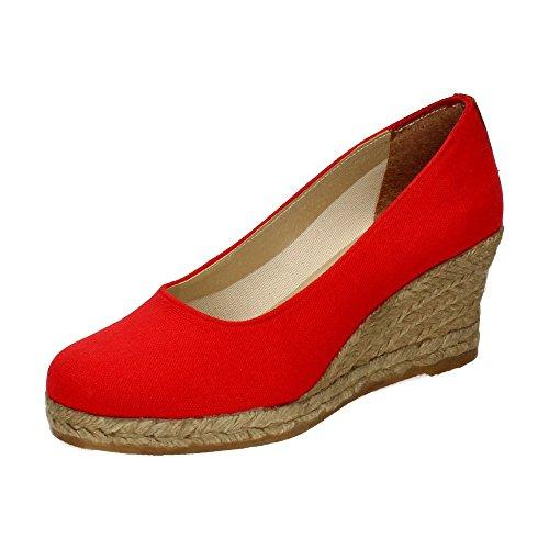 TORRES 4012 Zapatos CUÑA Esparto Mujer Alpargatas Rojo 40