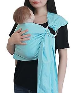 Vlokup Echarpes de portage Porteurs de bébé Ring Sling Light Blue
