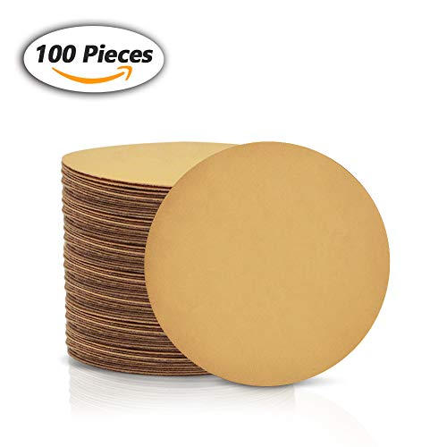 SPEEDWOX 100 Pcs 6 inch Sanding Discs Dustless Hook and Loop Sandpaper for Random Orbital Sander Yellow Finishing Discs for Automotive Woodworking (400-Körnung)