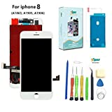 Screen Replacement For iPhone 8 (4.7 inch) -3D Touch LCD Screen Digitizer Replacement Display Assembly with Waterproof Adhesive, Tempered Glass, Tools,Instruction (White)