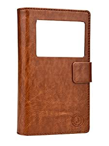 Jo Jo Corbett Series Cover Leather Pouch Flip Case For Obi Worldphone MV1 Dark Brown