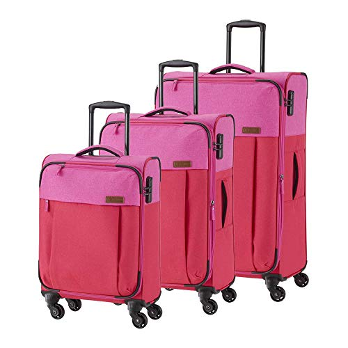 Travelite Leichtes lässiges  Surferlook Trolley Koffer-Set 77 cm, 183 L, Rot/Pink