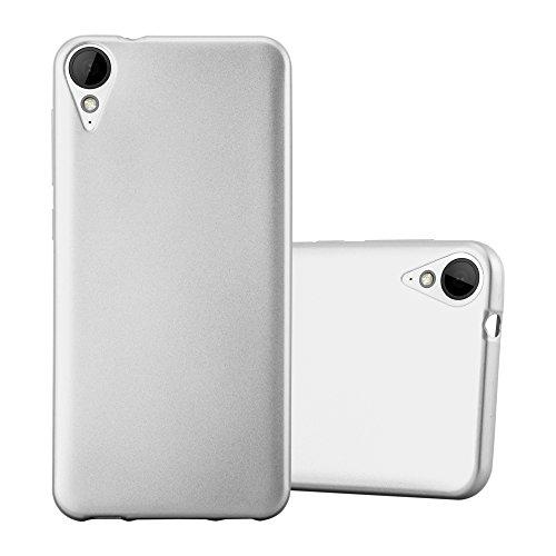 Cadorabo Hülle für HTC 10 Lifestyle/Desire 825 - Hülle in METALLIC Silber - Handyhülle aus TPU Silikon im Matt Metallic Design - Silikonhülle Schutzhülle Ultra Slim Soft Back Cover Case Bumper