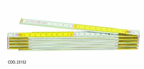 Metrica 23152 Holzgliedermassstab 2 m, rote Dez, weiß/gelb