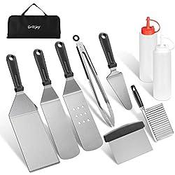 grilljoy 10pcs BBQ spatule ustensiles Set-INOX spatule Outils-spatule Barbecue Lame Set-Parfait extérieur Barbecue ustensile Set pour noël