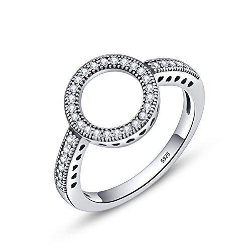 ing Silber Infinite Hearts Halo Ring mit CZ für Frauen Damen Mädchen Valentines Geschenk ()