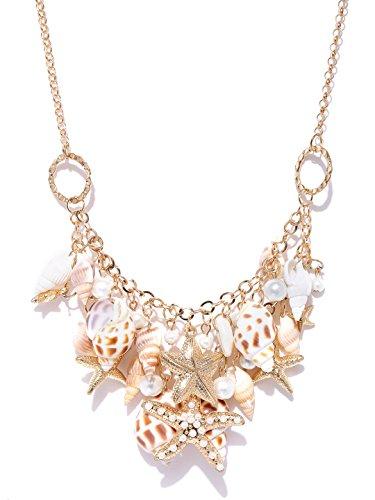 Shining Diva Fashion Jewellery Seashells Pearl Choker Party Wear Necklace For Girls / Women