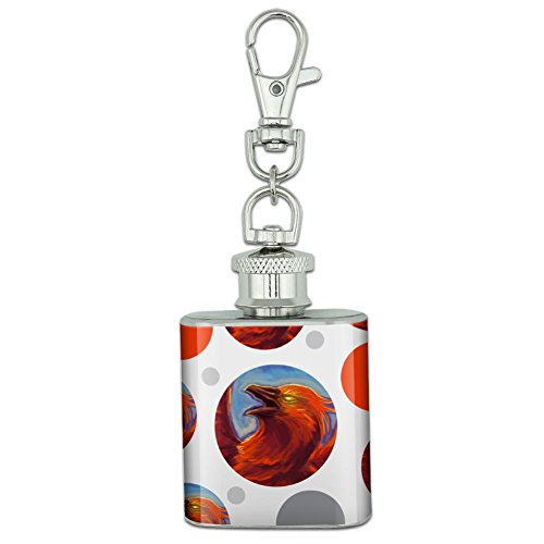 Stainless Steel 1oz Mini Flask Key Chain - Fantasy Mythical Creatures