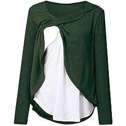 Tee Shirt Maternité d'allaitement,SANFASHION Tops Blouse Femmes Enceintes Nursing Loose,Blouse Shirt Manches Longues Épissage Tops Pull Shirt Grossesse