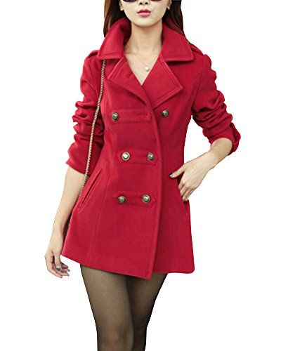 Damen Mantel Jacke Trenchcoat Slim Doppel-breasted Wintermantel Rouge M (Breasted Mantel)