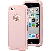 iPhone 5C Funda,Dailylux Carcasa iPhone 5c Funda iPhone 5c híbrido de alto impacto de silicona suave y cubierta de la caja dura de la PC para iPhone 5C-oro rosa