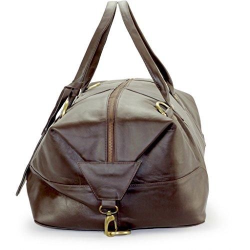 Herren-Tasche braun | Duffle-Bag aus Leder mit viel Platz (Kurzurlaub) Weekender Leder | Große Fitnesstasche (schwarz) dunkel-braun