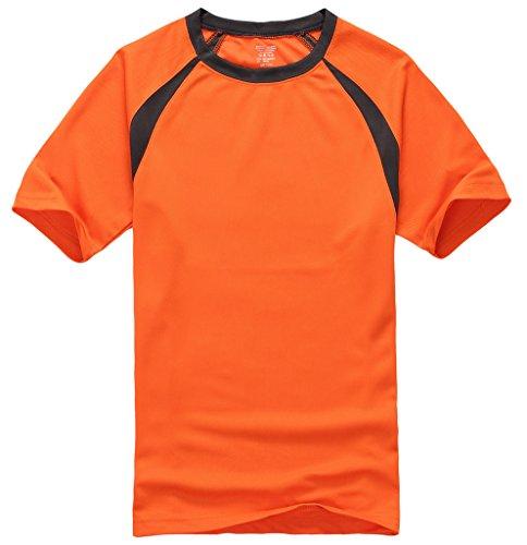 Smile YKK Herren Männer Basis Poloshirt Kurzarmshirt T-Shirt mit Rundhalsausschnitt Kurzes Aermel Orange